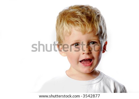 happy little boy on white background - stock photo