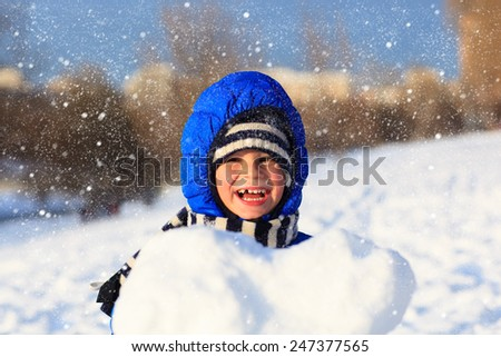 happy little boy outdoors on beautiful winter snow day