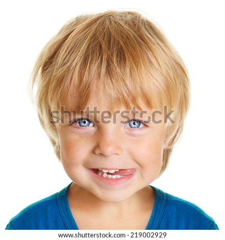Happy little boy portrait isolated on white background - stock photo