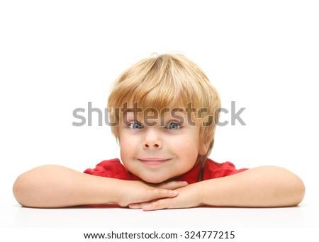 Happy little boy portrait on white background - stock photo