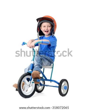 Happy little boy riding bicycle on white background. File contains a path to isolation.  - stock photo