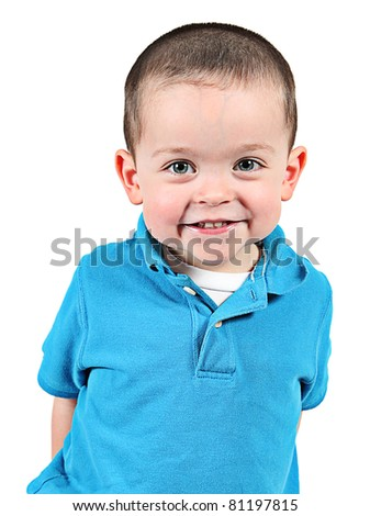 Happy Little boy with a smile, isolated on white background - stock photo
