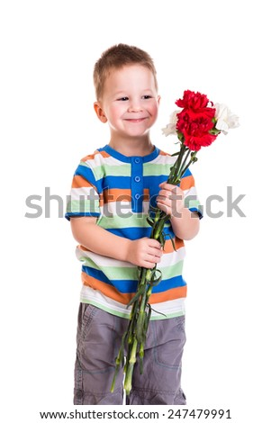 Happy little boy with bouquet of carnations, isolated on white