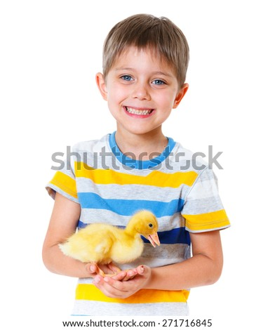 Happy little boy with cute ducklings isolated on white background - stock photo