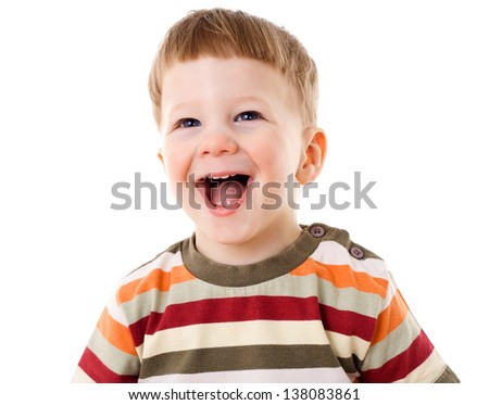 Happy little boy with smiling face, isolated on white - stock photo
