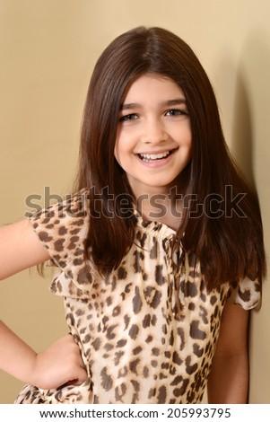 happy little brunette girl - stock photo