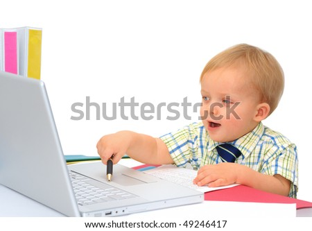 Happy little businessman with laptop - stock photo