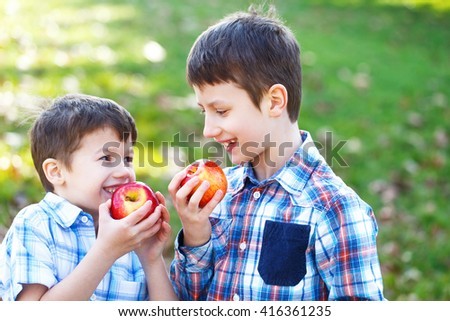 Happy little caucasian brothers eating apple outdoor - stock photo