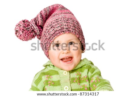 Happy little child smiling, isolated over white