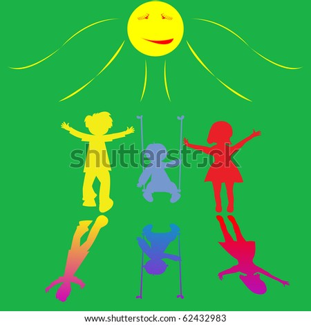happy little children playing on sunny background, abstract art illustration; for vector format please visit my gallery - stock photo