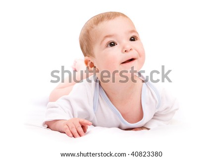 Happy little cute boy isolated over white background