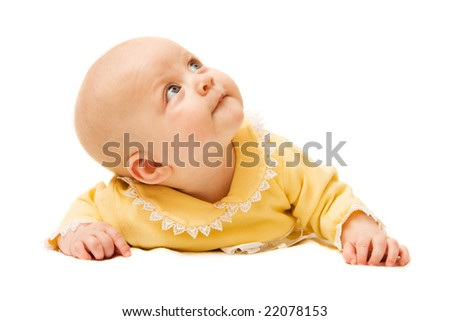 Happy little cute girl isolated over white background - stock photo