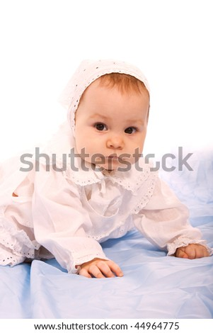 Happy little cute girl isolated over white background