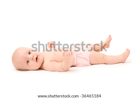 Happy little cute girl on white background