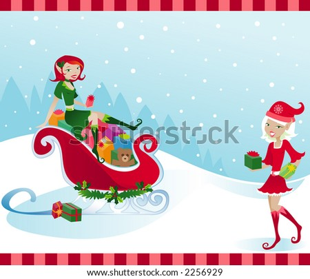 Happy little elves help Santa by filling his sleigh with presents - stock photo