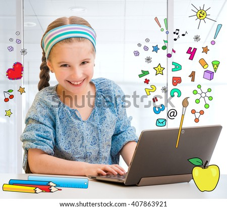 Happy little girl and her magic tablet