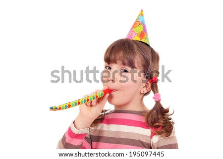 happy little girl birthday party on white