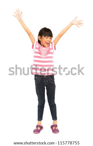 Happy little girl close the eyes with her arms wide open, Isolated over white with clipping path - stock photo