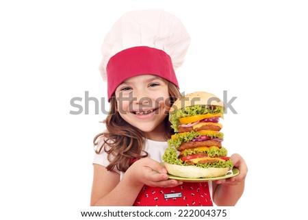 happy little girl cook with big hamburger