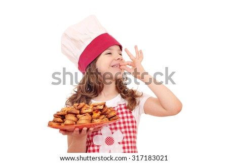 happy little girl cook with bruschette and ok hand sign - stock photo