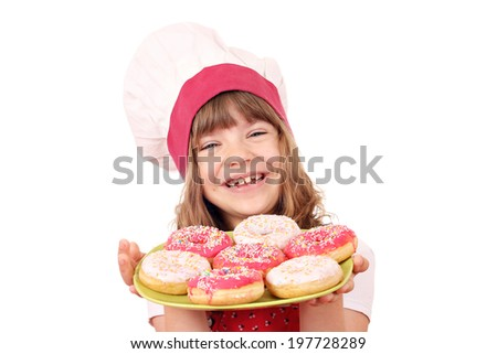 happy little girl cook with sweet donuts - stock photo