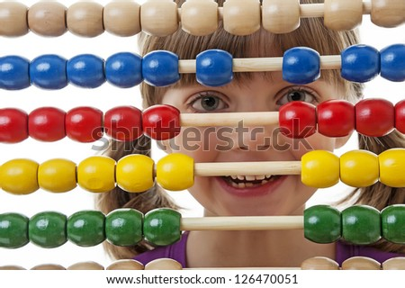 happy little girl counting - stock photo