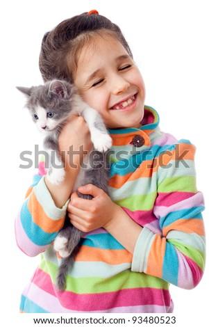 Happy little girl cuddle kitten, isolated on white - stock photo