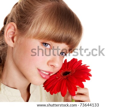 Happy little girl giving  flowers. - stock photo