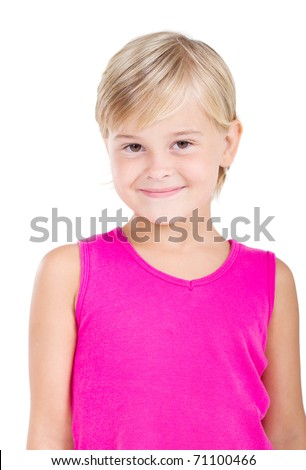 happy little girl half length portrait - stock photo