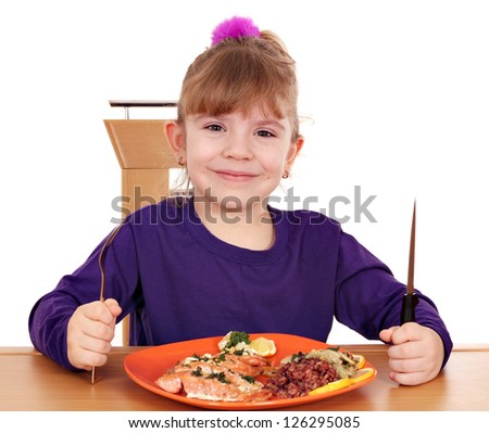 happy little girl healthy eating - stock photo