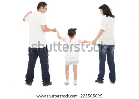 happy little girl hold parents hands. isolated on white background
