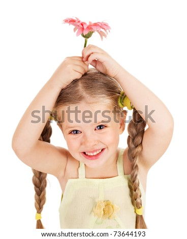 Happy little girl holding  flowers. - stock photo