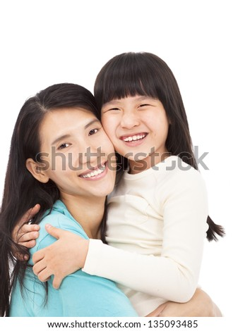 happy little girl hugging with her mother