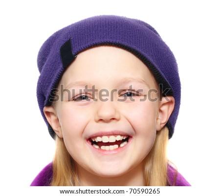 Happy little girl isolated. - stock photo