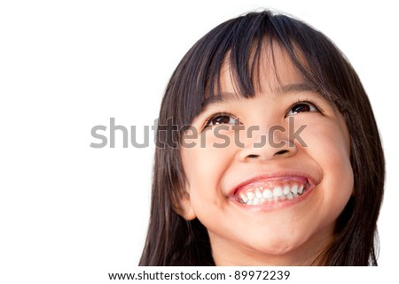 Happy little girl isolated on white - stock photo