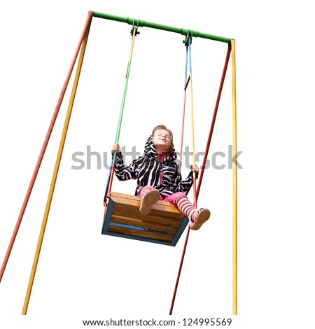 happy little girl on a swing isolated on white background cutout - stock photo