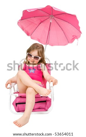 happy little girl on the beach isolated - stock photo