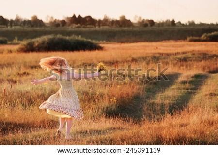 happy little girl outdoor - stock photo