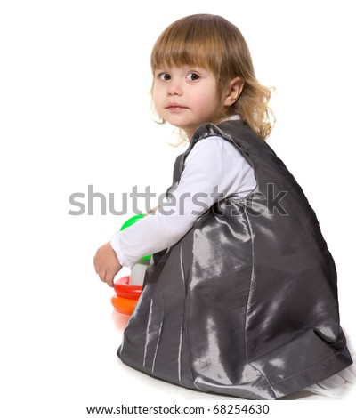Happy Little Girl playing isolated on white