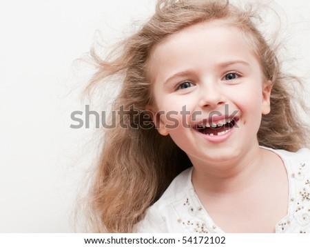 Happy little girl portrait - stock photo