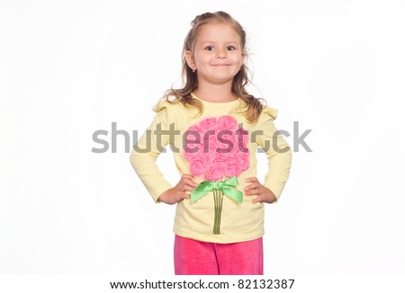 happy little girl posing on a white - stock photo