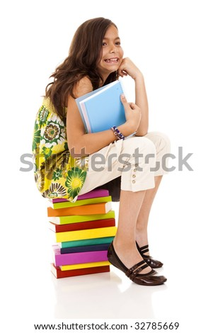 happy little girl ready for her first day of school - stock photo