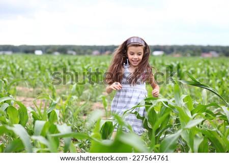 Happy little girl running through the corn field  - stock photo