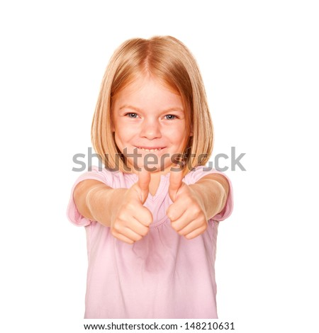 Happy little girl showing a thumbs up sign or OK symbol. Isolated on white background - stock photo