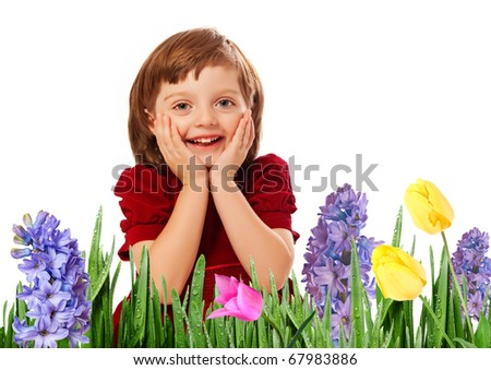 happy little girl - springtime - stock photo