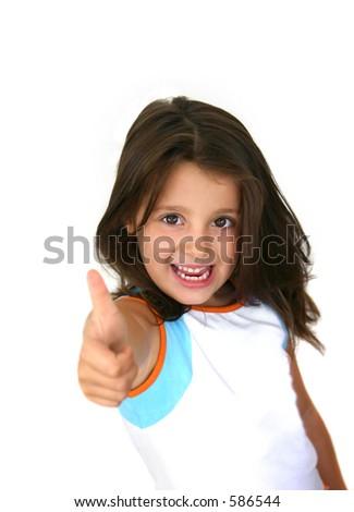 Happy little girl (thumbs up) - stock photo