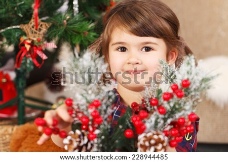 Happy little girl with an twigs of rowan waiting for Christmas - stock photo