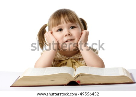 Happy little girl with big book, back to school, isolated over white