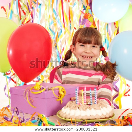 happy little girl with birthday cake and gift - stock photo