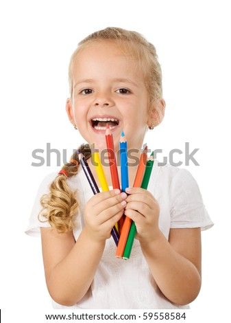 Happy little girl with colored pencils - isolated back to school theme - stock photo